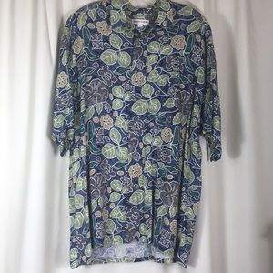 Pierre Cardin, tropical print, shirt, size L, EUC.